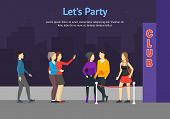 Enter A Club Concept Card Cartoon Include Of People Crowd And Building Element Flat Design Style. Ve poster