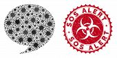Coronavirus Mosaic Quote Icon And Round Grunge Stamp Seal With Sos Alert Text. Mosaic Vector Is Desi poster