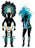 stock photo of pageant  - Vector Illustration Blue Couple for Carnival Costume Silhouettes with a man and a woman - JPG