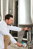 stock photo of drawing beer  - Brewer standing in his brewery and is examining the beer for its purity - JPG