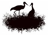 stock photo of stork  - Illustration of Stork Nest Silhouette Over White Background - JPG