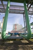 stock photo of ethanol  - Large green pipes at an ethanol plant - JPG