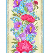 Vertical seamless pattern with peonies, crocuses and forget me not.