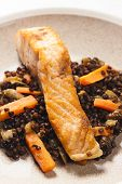 salmon fillet with lentils and carrot