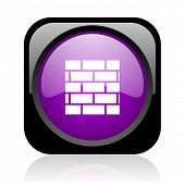 firewall black and violet square web glossy icon