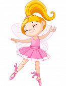 stock photo of tiara  - Illustration of a happy little fairy ballerina - JPG