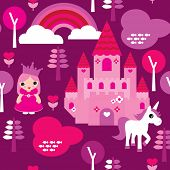 foto of unicorn  - Seamless princess castle and unicorn rainbow illustration pattern background in vector - JPG