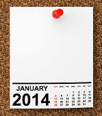 stock photo of calendar 2014  - Calendar January 2014 on blank note paper with free space for your text - JPG