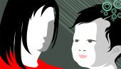 stock photo of nuclear family  - Illustration of picture of mother and kidBackground - JPG