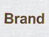 Marketing concept: Brand on fabric texture background poster