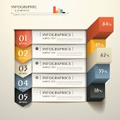 stock photo of chart  - realistic vector abstract 3d paper infographic elements - JPG
