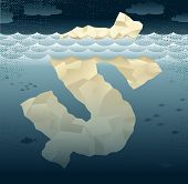 Abstract Business Tip Of The Dollar Iceberg.
