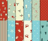 pic of snow peas  - Set of 12 Christmas seamless patterns in retro style - JPG