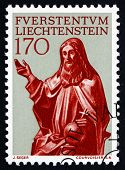Postage Stamp Liechtenstein 1966 Statue Of God The Father
