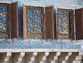 stock photo of harem  - Harem windows at Topkapi Palace, Istanbul, Turkey.