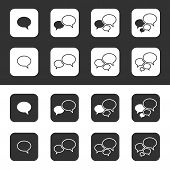 Trendy Thin Icons With Speech Bubbles. Set. Vector