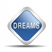 dreams realize and make your dream come true be successful and accomplish your goals button or icon
