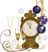 clock and two glasses, christmas attributes