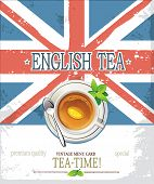 English tea vintage poster with place for text