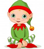 image of elf  - Illustration of sitting cute Christmas Elf - JPG