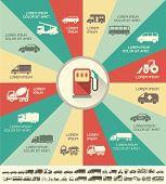 stock photo of motor-bus  - Flat Transportation Infographic Elements plus Icon Set - JPG