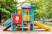 stock photo of playground  - A colorful playground equipment on the playground - JPG