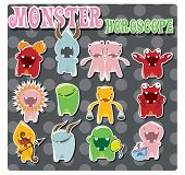 image of cancer horoscope icon  - Horoscope signs with cute colorful monsters - JPG