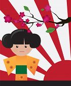 Little cute Japanese geisha character card with place for text, vector