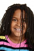 foto of cornrow  - isolated little black girl with hair over face - JPG