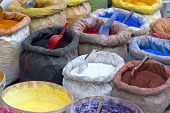 stock photo of pigment  - sacks with paint pigment in different colors for sale - JPG