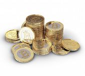 stock photo of bit coin  - Golden Bitcoin cryptography digital currency coins  - JPG