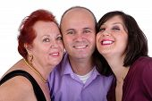 image of mother law  - Happy man with his mother and sister together close portrait Perhaps it - JPG