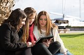 picture of wench  - Meeting of teenage friends sending messages with the tablet - JPG