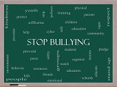 foto of stop bully  - Stop Bullying Word Cloud Concept on a Blackboard with great terms such as students cyber safety and more - JPG