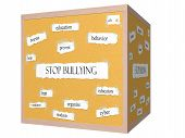 picture of stop bully  - Stop Bullying 3D cube Corkboard Word Concept with great terms such as education teens prevent and more - JPG