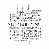 picture of stop bully  - Stop Bullying Word Cloud Concept in black and white with great terms such as students cyber safety and more - JPG