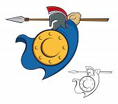 pic of spears  - Vector illustration of a Trojan warrior with shield and spear - JPG