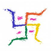 pic of swastika  - The auspicious swastika of India painted with dye powder and isolated on white - JPG