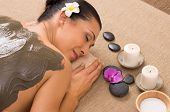 image of mud  - Relaxed Woman Receiving A Mud Treatment At Spa - JPG