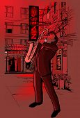 image of saxophone player  - Vector illustration of saxophone player in a street at night - JPG