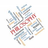 foto of thinker  - Philosophy Word Cloud Concept angled with great terms such as education study thinker and more - JPG