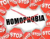 image of stop hate  - Vector illustration of stop homophobia concept background - JPG