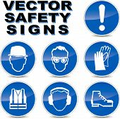 pic of work boots  - Vector illustration of safety signs on white background - JPG