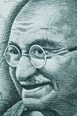 stock photo of gandhi  - Mahatma Gandhi portrait on rupee note - JPG