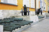foto of artillery  - Ancient artillery Cannons In The Moscow Kremlin Russia - JPG