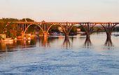 image of dnepropetrovsk  - Elegant bridge at the Dnieper river lit by the evening sun - JPG