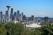 picture of view from space needle  - Recognizable Seattle skyline with Space Needle and with Mt Rainier floating on the background - JPG