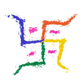 picture of swastika  - The auspicious swastika of India painted with dye powder and isolated on white - JPG