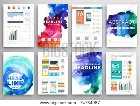 Set of vector poster templates with watercolor paint splash set of vector poster templates with watercolor paint splash abstract background for business docume poster accmission Gallery