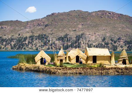 Постер, плакат: Урош плавающие острова озеро Титикака Перу, холст на подрамнике